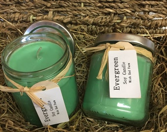 Scented Soy Candle Evergreen 6.5 oz Jar, Birthday Gift, Candle Gift, Vegan Gift, Teacher Gift, Christmas Candle,  Natural Soy Candle,