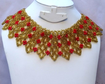 Detailed Bold Gold and Red Beads Party Jewelry Necklace Set