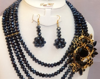 Dazzling Black Layers Beads Wedding Party Bridal Necklace Earring Jewellery Set