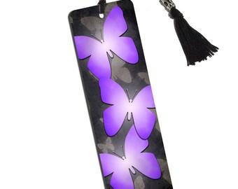 Purple Butterflies Printed Bookmark With Tassel