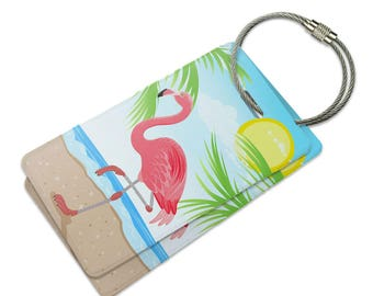 Flamingo And Palm Tree Beach Vacation Suitcase Bag Id Luggage Tag Set