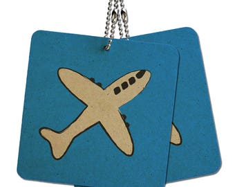 "Plane Airplane Travel Flying Wood Mdf 4"" X 4"" Mini Signs Gift Tags"