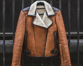 Genuine Sheepskin Biker Jacket With Shearling | 80's Classic Style