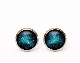 Turquoise Studs Turquoise Earrings Turquoise Earings Stud Earrings Turquoise Jewelry Tiny Stud Earrings Tiny Studs Night Sky Galaxy Dark UK