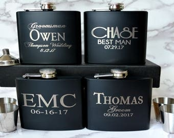Personalized Wedding Gift 10 Groomsmen Flask Sets Stainless Unique