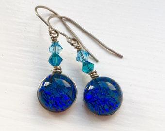 Dichroic Glass and Titanium Drop Earrings ~ Blue Lagoon