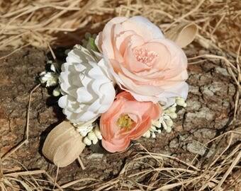 Baby flower headband, Baby Headband, baby flower crown, baby crown, flower headband, newborn headband, 1st flower headband