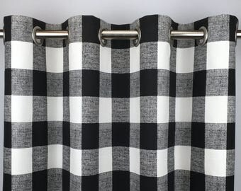Black Buffalo Check Curtains   FREE SHIPPING  Black Gingham Drapes   Black  Plaid Drapery