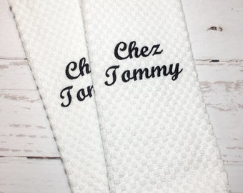 Personalized Kitchen Dish Towels, Monogrammed Kitchen Dish Towels, Embroidered Kitchen Dish Towels, Custom Kitchen Dish Towel Set