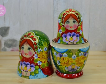 Matryoshka, Russian nesting doll, Gift idea for friend, Hand painted babushka, Gift for woman, Hand made wooden stacking dolls