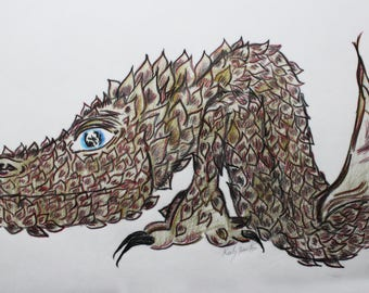 Brown Dragon by artist Keely Nocifora