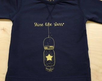 Sweat Shirt for baby Shine Like Stars Navy size 12-18 months, long sleeves, birth gift