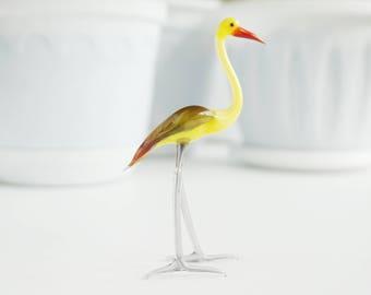 Stork Glass Figurine - Collectible Figurine - Glass Sculpture - Mini Glass Figurine -Glass Figurine -Figure Glass -Animal - Glass (3-969)