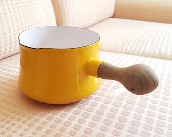 Vintage Dansk Designs IHQ Kobenstyle yellow Sun Gold enamel teak handle 1.75 quart sauce butter pan pot Jens Quistgaard 1960s mid century