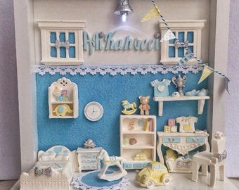 Miniature doll house light house customize name on Miniature Doll theathre Cute light lantern Room baby house theatre