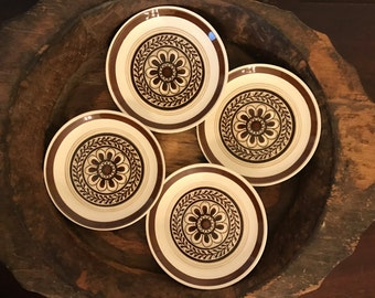 """Vintage Cavalier Ironstone Brown Floral """"Monterey"""" Pattern 6 Inch Side Plates Set of 4 