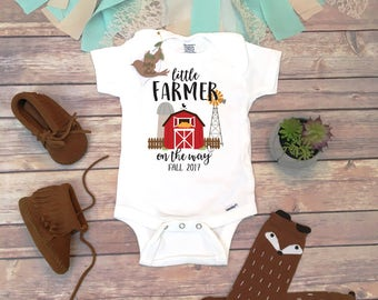 Pregnancy Announcement, Pregnancy Reveal Onesie®, Pregnancy Reveal to Grandparents, Farm Onesie, Country Baby Clothes,  Farm Help On the Way