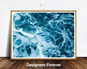 Beach Print, Ocean Waves Decor, Coastal, Wall Art, Turquoise Blue Aqua Abstract, Gift, Ocean Water Print, Coastal Wall Art, Printable Art