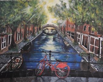 Amsterdam By Morning Light, Acrylic Original Painting