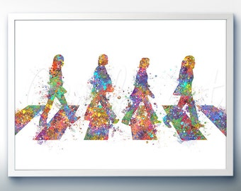 The Beatles Abbey Road Watercolor Art - Home Living - Watercolor Painting - Watercolor Poster - Wall Decor - Home Decor - House Warming Gift
