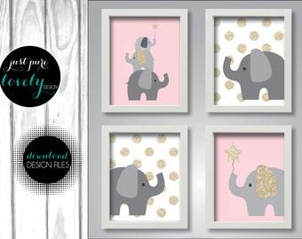 Pink Gray Gold Sparkle Elephant Baby Girl Nursery Decor | Printable Instant Digital Download | Set of 4 8x10