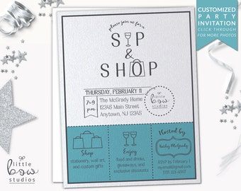 Sip and Shop Printable Invitation, Lularoe Invitation, Arbonne Party, Rodan and Fields, Girls Night Out Invite, Cocktail Party, Open House
