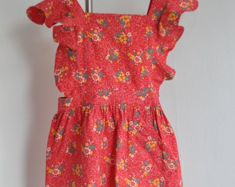 Cute red flowered vintage little girls apron. Liberty fabric. Perfect condition.