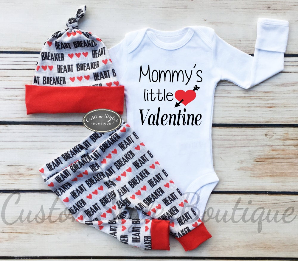 baby boys first valentines day outfit red and grey leggings hat with red cuffs - Valentines Day Outfit Baby Boy