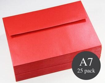 25 - A7 Red Envelopes - Red Metallic Shimmer Square Flap Envelopes - 5 1/4 x 7 1/4 - Jupiter