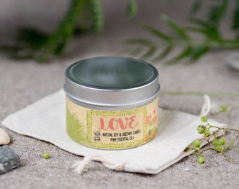 LOVE Aromatherapy Candle (4oz) – Natural Soy & Beeswax Candle with Pure Essential Oils
