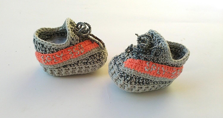 Crochet baby yeezy booties Yeezy boost 350 shoes Grey baby