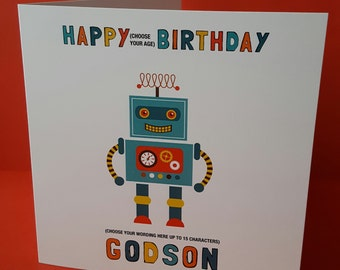 Robot Personalised Birthday Card, son, brother, nephew, grandson, Godson, friend.  Age of choice