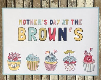 Personalised Paper Placemats Cupcakes Mother's Day
