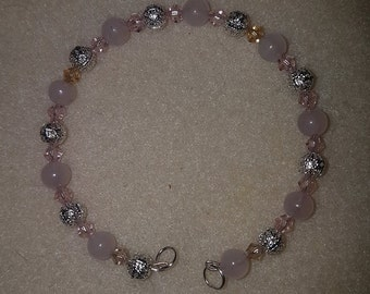 Pink quartz round beads bracelet