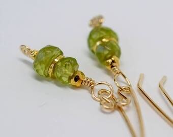 Small Peridot Earrings, Gold Fill Artisan Ear Wires, August Birthday, Green and Gold, Peridot Jewelry, MahiDesigns1, 2017 Pantone Color