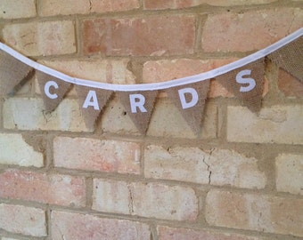 Wedding Cards Bunting, Burlap Bunting, Hessian Bunting, Wedding Decoration, Cards Sign