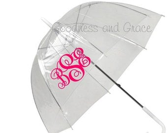 Personalized Clear Bubble Umbrella - Monogram or Rain Rain Go Away - Mother's Day, Birthday, Graduation, Back to School - Kids & Adult Sizes
