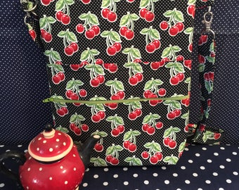 Retro Black and red Cherries Cross Body Sling Tote