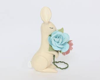 Bunny rabbit with flowers - light yellow polymer clay miniature animal figurine