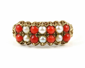 Victorian Revival Vintage 9ct Yellow Gold, Coral & Pearl Dress Ring