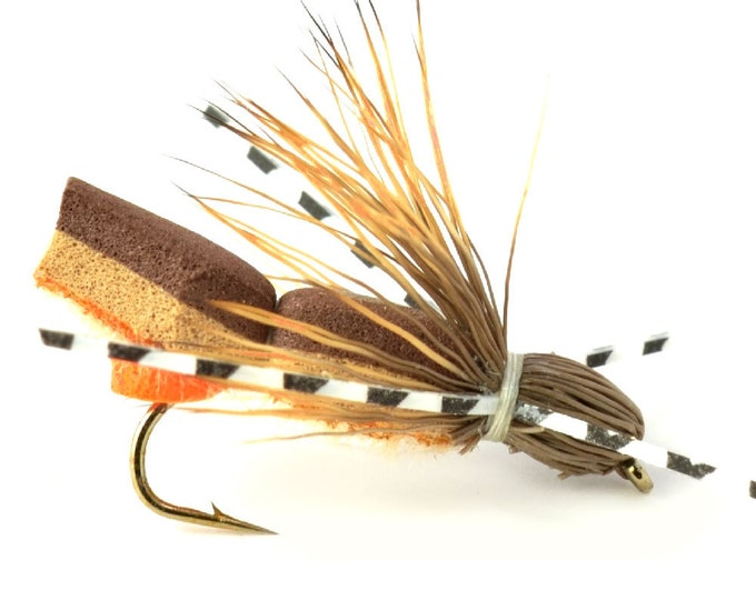 Hand Tied Trout Flies: Bullethead Cicada  Hopper Foam Body Terrestrial Dry Fly  - Hook Size 10