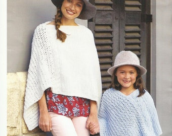 Childrens and Adults Poncho pdf Knitting Pattern. 4 - 12years and adult.