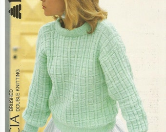 Original Vintage Ladies Drop Shoulder Sweater Knitting Pattern.