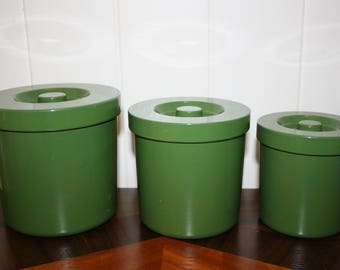 Set 3 Retro Green Plastic Containers