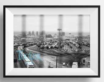Fort Worth, Texas Skyline View {print photo wall art decor photography trains track yard downtown city black and white conceptual}