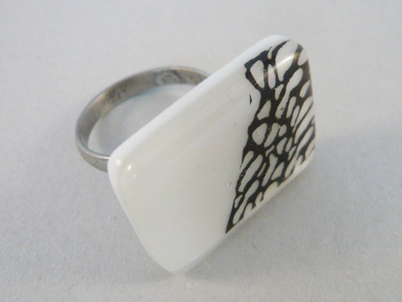 Rectangular statement ring, White and black adjustable steel ring,  handmade fused glass, Unique jewelry, Nickel free, does not discolour