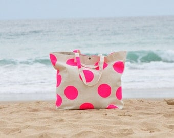 Oversize Canvas Beach Bag Tote Neon Pink Dotty with double handles
