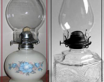 Vintage   Oil Lamp with wicker -Lamplight Co.