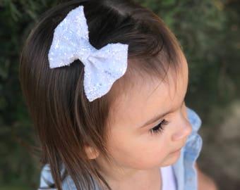 White glitter bow