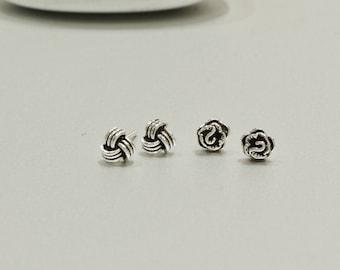 Silver Knot Ear Studs, Earrings, Simple Minimalist Earrings, Bohemian, Delicate Sterling Silver Earrings, Gift Jewelry, Ear Studs (E30/33)
